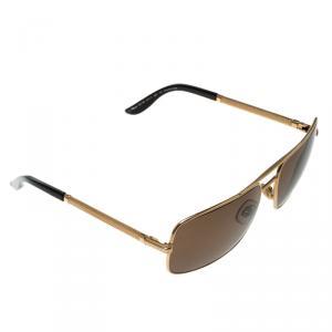 Chopard Brown/Gold SCH745 Rectangular Polarized Sunglasses