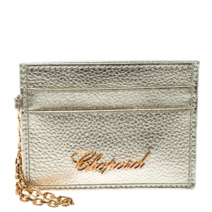 Chopard Gold Leather Happy Card Holder with Chain