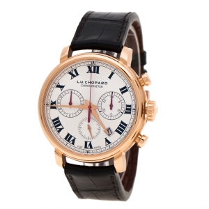 L.U. Chopard Silver White 18K Rose Gold 1963 Chronograph 16164-5001 Limited Edition 06/50 Men's Wristwatch 42 mm