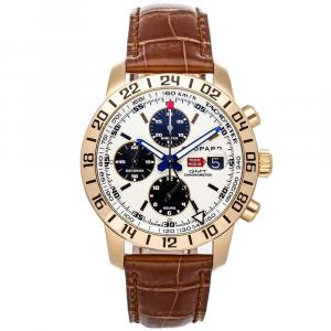 Chopard White 18K Rose Gold Mille Miglia Chronograph GMT Limited Edition 161260-5001 Men's Wristwatch 42.5 MM