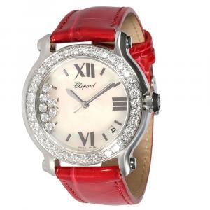 Chopard White Diamonds Stainless Steel Happy Sport 27/8476-20 Men's Wristwatch 36 MM