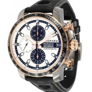 Chopard Silver 18K Rose Gold And Titanium Grand Prix de Monaco Historique 168570-9001 Men's Wristwatch 44.5 MM