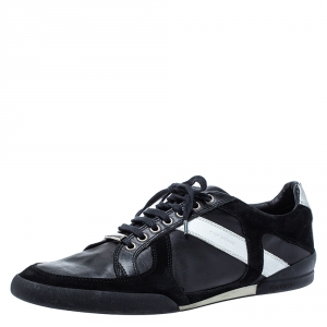 Dior Homme Black/White Leather and Suede Lace Low Top Sneakers Size 43.5