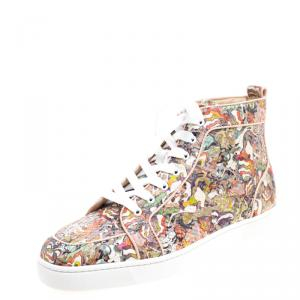 Christian Louboutin Multicolor Python Faience Rantus High Top Sneakers Size 44