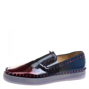 Christian Louboutin Ombrè Glitter Patent Leather Spike Pik Boat Slip On Sneakers Size 43.5
