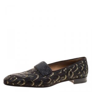Christian Louboutin Black Leopard Woven Jacquard Loafers Size 44.5