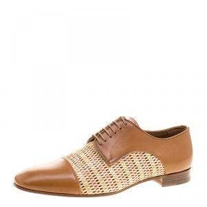 Christian Louboutin Brown Leather and Woven Straw Daviol Derby Size 41