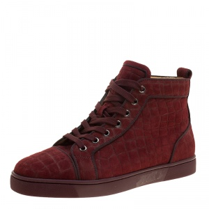 Christian Louboutin Burgundy Croc Effect Suede Louis High Top Sneakers Size 40.5
