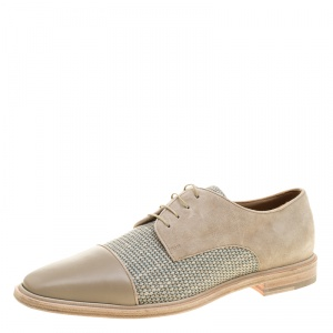 Christian Louboutin Beige Suede and Linen Bruno Orlato Lace Up Derby Size 42.5
