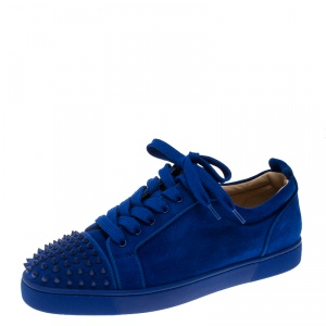 Christian Louboutin Cobalt Blue Suede Louis Junior Spikes Sneakers Size 43