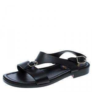 Christian Louboutin Black Leather Don Giovanni Flat Sandals Size 43