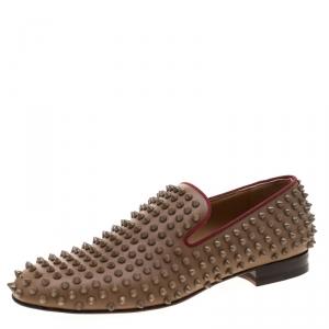 Christian Louboutin Brown Leather Rollerboy Spike Loafers Size 40