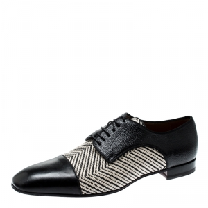 Christian Louboutin Black Leather And Canvas Lace Up Oxford Size 44