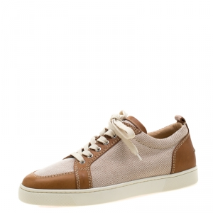 Christian Louboutin Beige/Brown Canvas and Leather Rantulow Sneakers Size 43