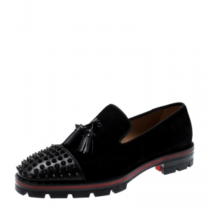 Christian Louboutin Black Suede And Leather Rossini Spike Embellished Cap Toe Platform Loafers Size 40