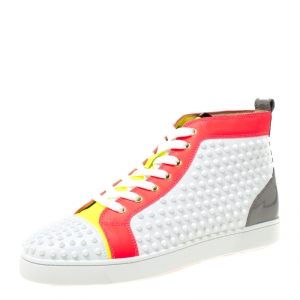 Christian Louboutin White Leather With Flourescent Matt Louis Spikes High Top Sneakers Size 45