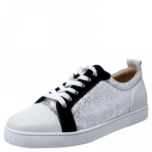 Christian Louboutin Silver/White Foil Leather and Leather Orlato Low Top Sneakers 43.5