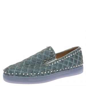 Christian Louboutin Blue Quilted Glitter Fabric Spike Pik Boat Slip On Sneakers Size 43.5