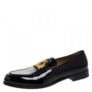 Christian Louboutin Black Patent Leather Laperouza Slip On Loafers Size 45