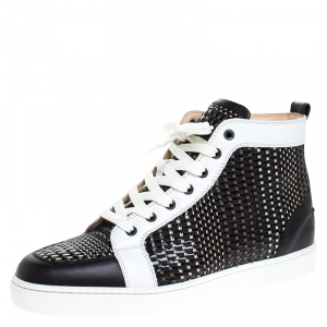 Christian Louboutin Black/White Leather Rantus High Top Sneakers Size 44