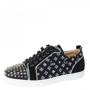 Christian Louboutin Black/Silver Loubi in the Sky Jacquard and Suede Spikes Orlato Sneakers Size 43