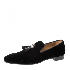 Christian Louboutin Black Velvet Rivalion Slip On Loafers Size 43