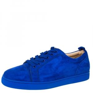 Christian Louboutin Cobalt Blue Suede Louis Junior Sneakers Size 43.5