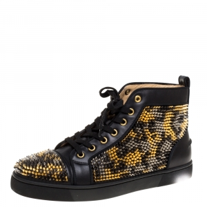 Christian Louboutin Black Leather Louis Spike High Top Sneakers Size 40.5