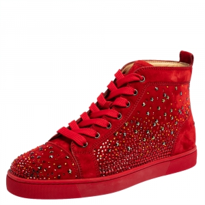 Christian Louboutin Red Suede Galaxtitude High Top Sneakers Size 40