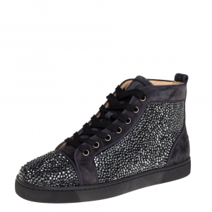Christian Louboutin Grey Suede Louis Strass High Top Sneakers Size 40