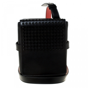 Christian Louboutin Black Leather Studded Benech Reporter Crossbody Bag
