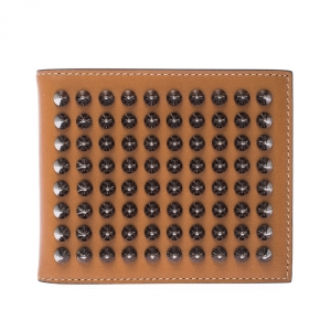 Christian Louboutin Tan Leather Clipsos Studded Bi Fold Wallet