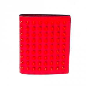 Christian Louboutin Neon Orange Leather Clipsos Studded Bifold Wallet
