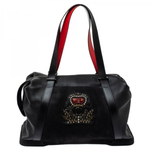 Christian Louboutin Black/Red Nubuck and Leather Bagdamon Duffle Bag