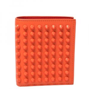 Christian Louboutin Neon Orange Leather Clipsos Studded Bifold Wallet