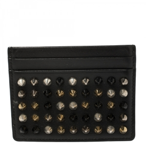 Christian Louboutin Black Leather Studded Kios Card Holder
