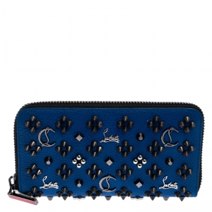 Christian Louboutin Blue Leather Panettone Zip Around Wallet