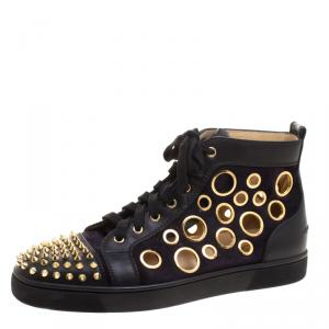 Christian Louboutin Two Tone Suede And Leather Bubble Spikes High Top Sneakers Size 43