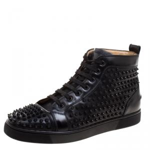 Christian Louboutin Black Leather Louis Spikes High Top Sneakers Size 42.5