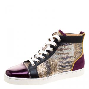 Christian Louboutin Mulitcolor Glitter Fabric and Leather High Top Sneakers Size 42