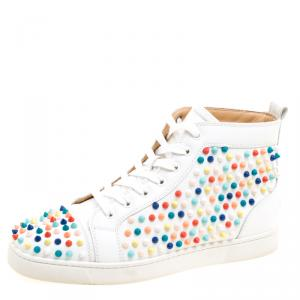 Christian Louboutin White Leather Louis Multicolor Spike High Top Sneakers Size 42