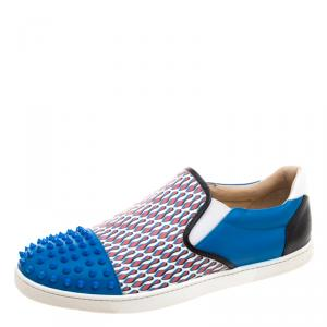 Christian Louboutin Blue Spike Leather and Loubi Print Nazapunta Skate Sneakers Size 42