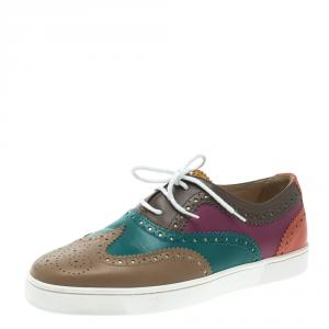 Christian Louboutin Multicolor Brogue Leather Golfito Wingtip Sneakers Size 41
