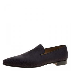 Christian Louboutin Black/Purple Printed Fabric Smoking Slippers Size 44