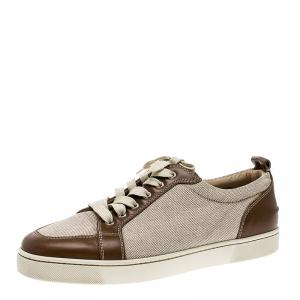 Christian Louboutin Beige/Brown Canvas and Leather Rantulow Sneakers Size 45