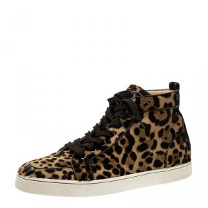 Christian Louboutin Beige Leopard Calfhair Rantus Orlato High Top  Sneakers Size 45