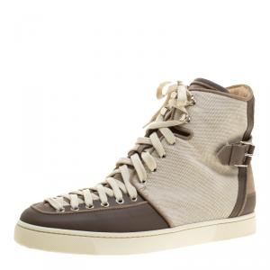Christian Louboutin Beige Suede/Leather and Canvas Alfie High Top Sneakers Size 45