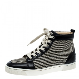 Christian Louboutin Beige/Black Straw and Leather Rantus Sneakers Size 41.5