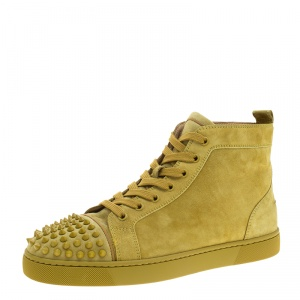 Christian Louboutin Green Suede Lou Spikes High Top Sneakers Size 42