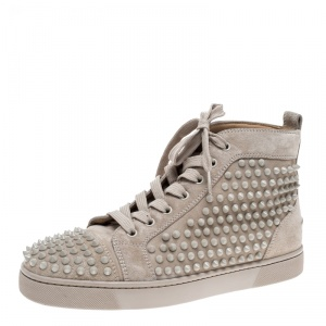 Christian Louboutin Beige Suede Louis Spike High Top Sneakers Size 40